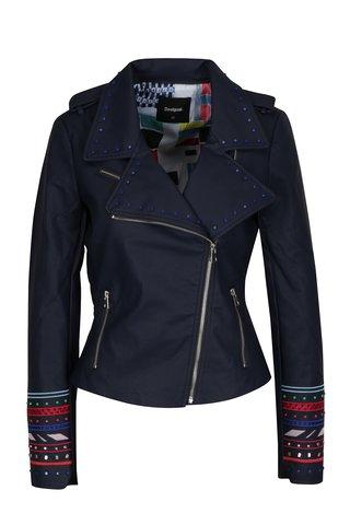 Jacheta biker bleumarin cu aplicatii decorative Desigual Annick