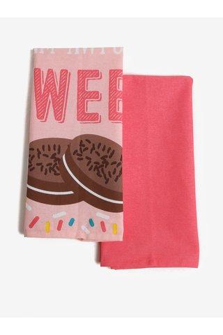 Set de 2 prosoape de bucatarie roz cu print - SIFCON Calories