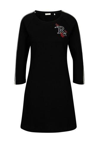 Rochie pulover neagra cu broderie  - Rich & Royal