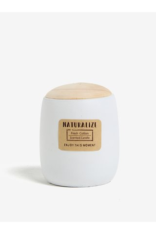 Lumanare parfumata in recipient ceramic alb cu capac de lemn - Kaemingk