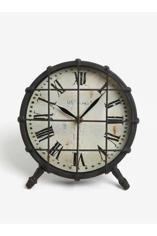 Tmavě šedé kovové stolní hodiny Kaemingk
