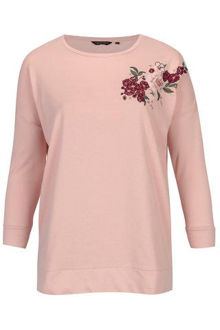 Bluza roz cu umeri cazuti si broderie florala - Dorothy Perkins Curve