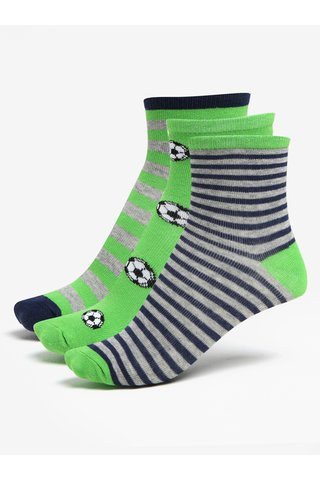 Sada tří párů klučičích pruhovaných ponožek v šedo-zelené barvě 5.10.15.