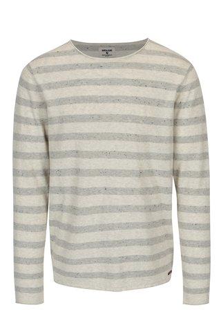 Šedo-krémový pruhovaný svetr Garcia Jeans