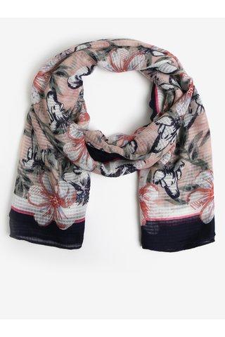Esarfa roz & bleumarin si print floral - Pieces Marcia