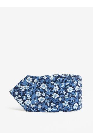 Cravata bleumarin din matase cu print floral -  Jack & Jones Premium Crussel