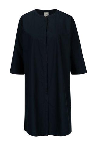Tmavě modré košilové šaty s 3/4 rukávem Selected Femme Aman