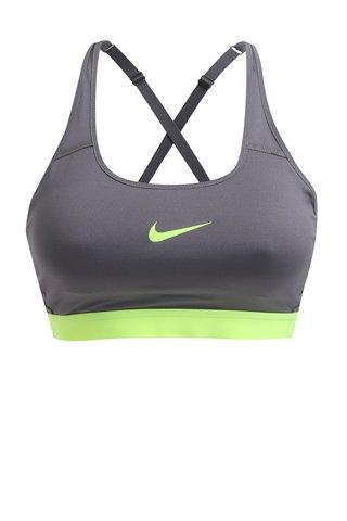 Bustier gri sport cu bretele incrucisate pentru femei Nike Classic Strappy Bra