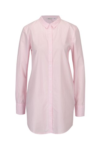 Bílo-růžová dlouhá pruhovaná košile ONLY Sapelin