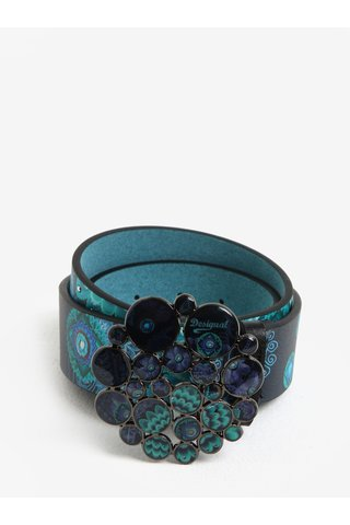 Curea bleumarin cu tinte si catarama decorativa Desigual Bollywood