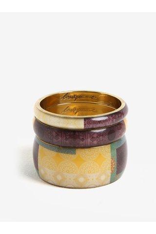 Sada tří náramků v světle fialové a zlaté barvě Desigual Digital