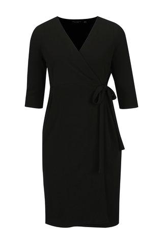 Černé zavinovací šaty s 3/4 rukávem Dorothy Perkins Curve