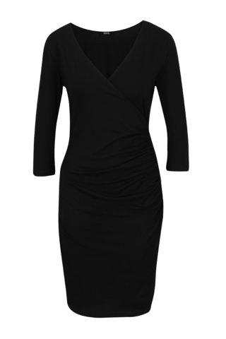 Černé překládané šaty s řasením na boku ZOOT