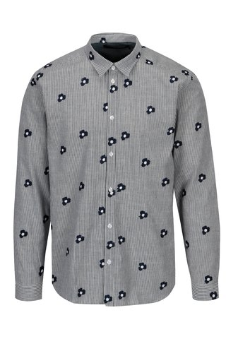 Krémovo-modrá pruhovaná košile s výšivkou SUIT Ralph
