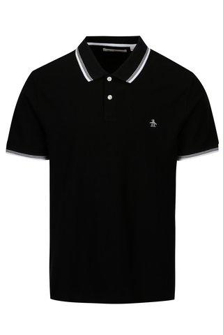 Tricou polo negru cu dungi contrastante albe - Original Penguin