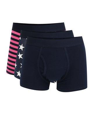 Set de 3 boxeri cu print si talie elastica Burton Menswear London