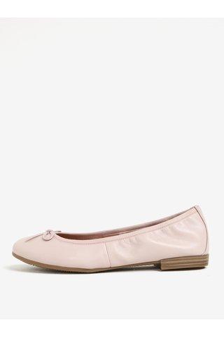 Balerini roz din piele naturala cu fundita Tamaris