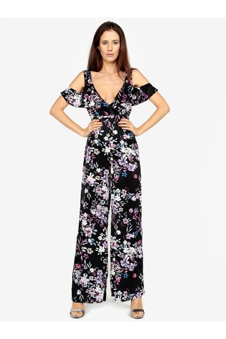 Salopeta lunga neagra cu print floral si cold shoulder - MISSGUIDED