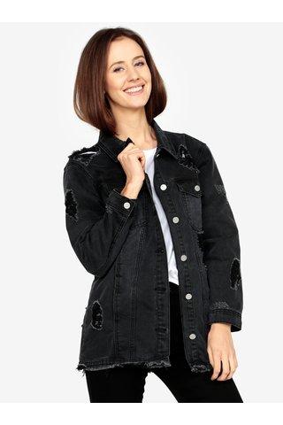 Jacheta neagra din denim cu aspect deteriorat -  MISSGUIDED