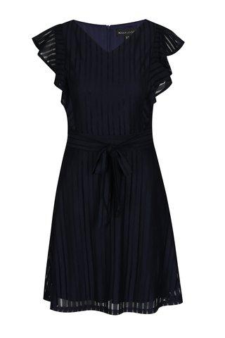 Tmavě modré áčkové šaty s volánovým rukávem Mela London