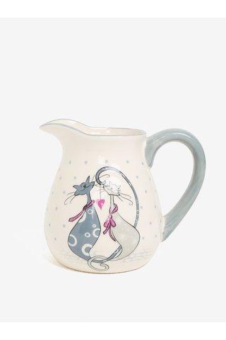 Cana ceramica crem & gri cu print - Dakls