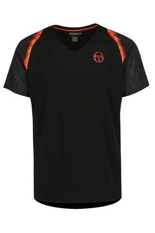 Tricou sport negru cu print si maneci raglan pentru barbati - Sergio Tacchini Magma