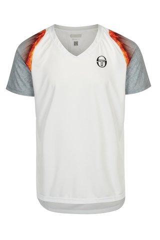 Tricou sport alb cu print si  protectie solara pentru barbati - Sergio Tacchini Magma