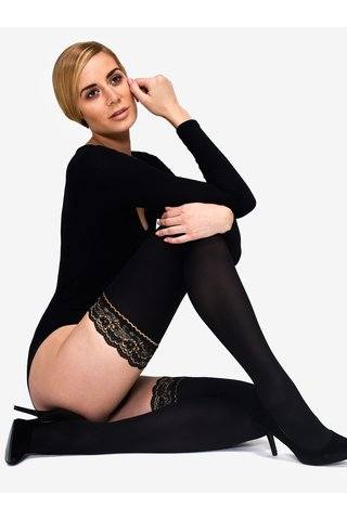 Ciorapi negri cu banda elastica dantelata 50 DEN Andrea Bucci