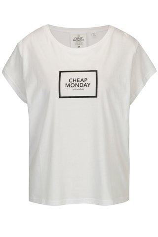 Bílé volné tričko s potiskem Cheap Monday