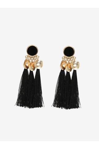 Cercei negri cu detalii aurii si ciucuri - Pieces Jamila