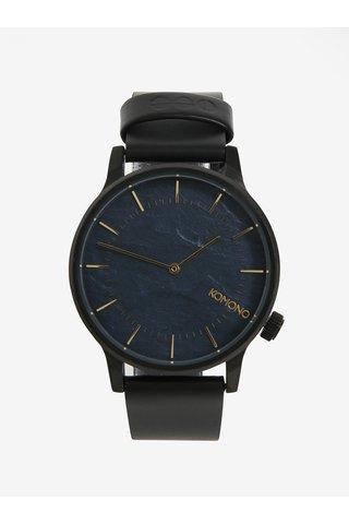 Černé pánské hodinky s koženým páskem Komono Winston