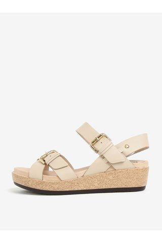 Béžové kožené sandály na klínku Pikolinos Mykonos