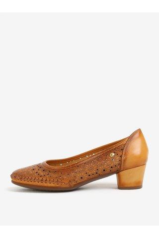 Pantofi maro din piele cu model perforat si stantat - Pikolinos Gomera