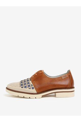 Pantofi maro & bej din piele cu model perforat - Pikolinos Sitges