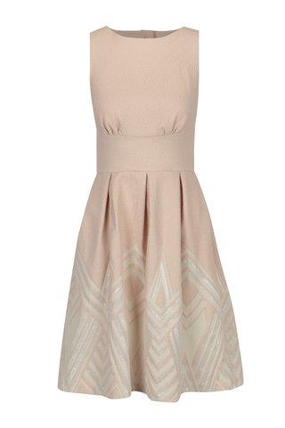 Rochie roz pal cu print geometric si fir metalic Closet