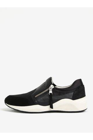 Pantofi sport negri din piele naturala cu fermoar pentru femei Geox Omaya