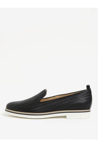 Pantofi negri din piele cu model impletit pentru femei Geox Janalee