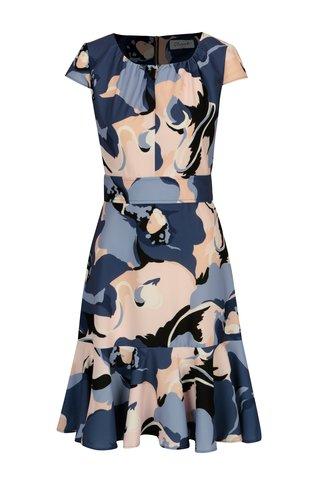 Rochie albastra cu print abstract si volan Closet