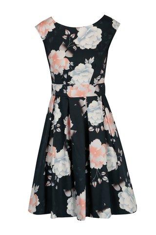 Rochie bleumarin cu print floral si pliuri Closet