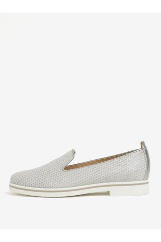 Pantofi bej din piele cu model pentru femei Geox Janalee