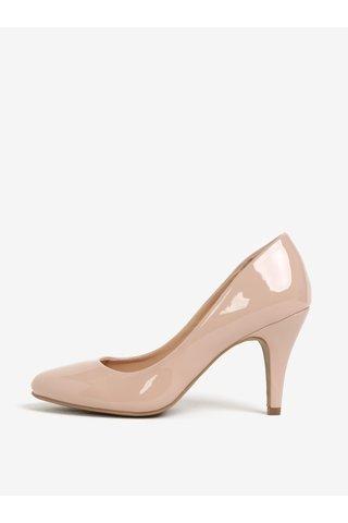 Pantofi roz pal cu toc si aspect lacuit Dorothy Perkins