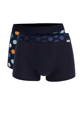 Set de 2 perechi de boxeri bleumarin cu buline - Happy Socks Big Dot