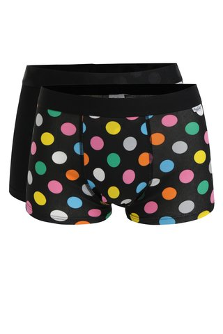 Set de 2 perechi de boxeri negri cu buline - Happy Socks Big Dot