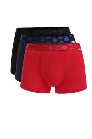 Set de 3 perechi de boxeri albastru rosu & negru - Happy Socks Solid