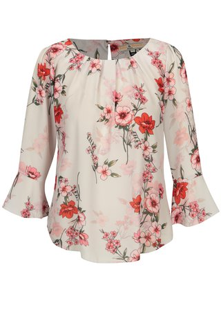 Bluza alba cu print floral si maneci clopot Billie & Blossom