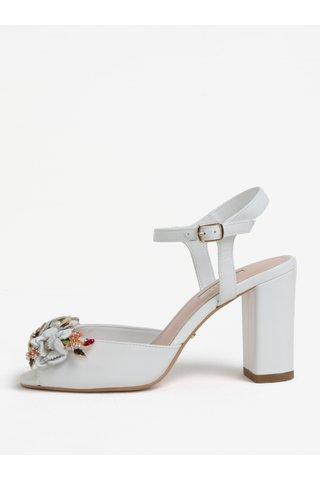 Sandale cu toc albe din piele cu aplicatie Dune London Mackaya