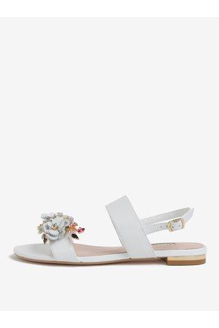 Sandale albe din piele cu aplicatie florala Dune London Kiko