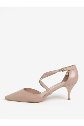 Pantofi cu toc roz pal din piele Dune London Courtnee