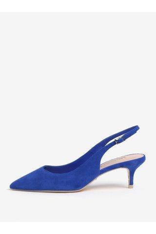 Pantofi cu toc albastri din piele cu calcai decupat Dune London Casandra