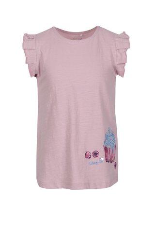 Růžové holčičí tričko s volány a flitry  it Haylow